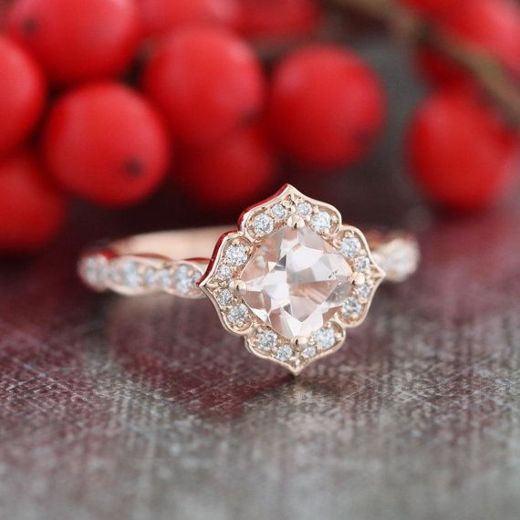 This mini version of vintage inspired morganite engagement ring features a 6x6mm cushion cut natural pinkish peach morganite set in a solid 14k rose gold floral setting and finished in a scalloped diamond band to enhance its elegance. ** The listing price is for one engagement ring only ** ..............................................  ** Bridal Ring Set: https://www.etsy.com/listing/265232859/mini-vintage-floral-morganite-engagement   ** Matching Wedding Band…
