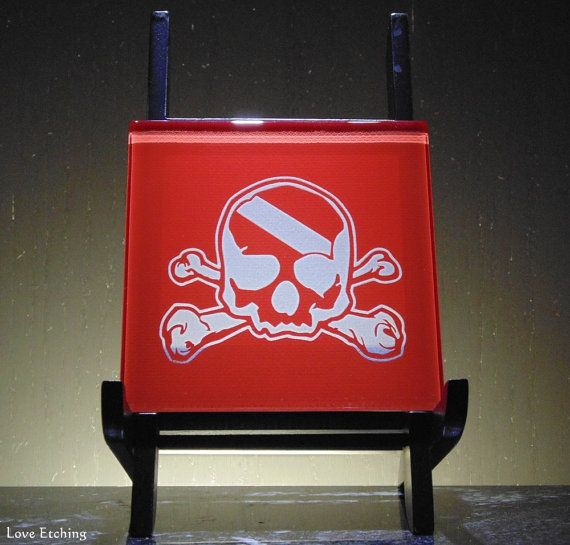 Skull & Crossbones Scuba Flag Etched Glass Red Wall Tile