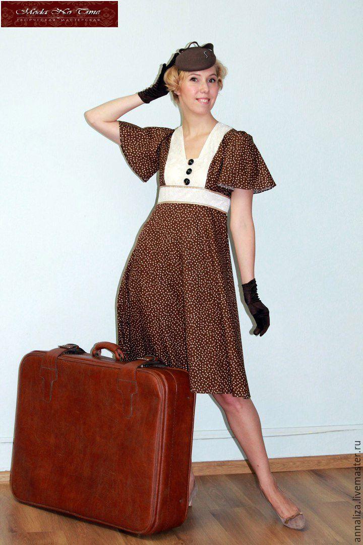 Купить Женское платье в духе 40-х. - мода 40-х, 40-е