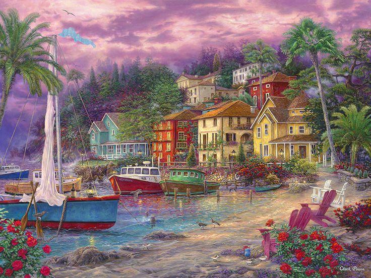 On Golden Shores By Chuck Pinson Beach Sailboat