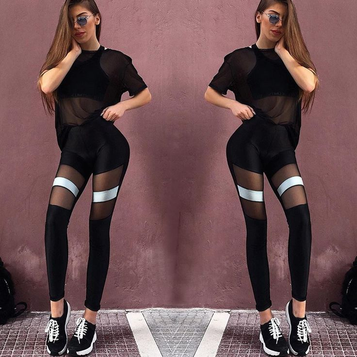 Premium lycra mesh stripes leggings
