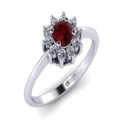 Inel de logodna ATCOM Lux cu rubin si diamante LANCELOT aur alb