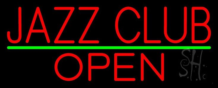 Red Jazz Club Open Neon Sign 13 Tall x 32 Wide x 3 Deep, is 100% Handcrafted with Real Glass Tube Neon Sign. !!! Made in USA !!!  Colors on the sign are Red and Green. Red Jazz Club Open Neon Sign is high impact, eye catching, real glass tube neon sign. This characteristic glow can attract customers like nothing else, virtually burning your identity into the minds of potential and future customers.