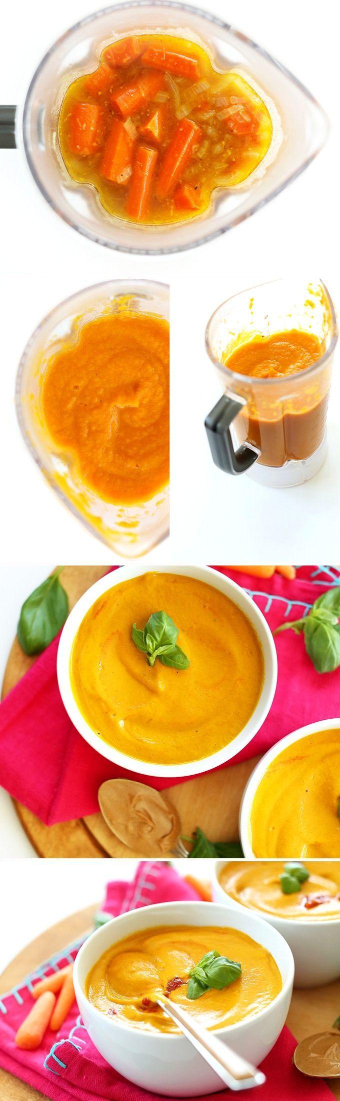 7 Ingredient Creamy Thai Carrot Soup with Basil! #Vegan, #glutenfree #healthy… http://minimalistbaker.com/creamy-thai-carrot-soup-with-basil/