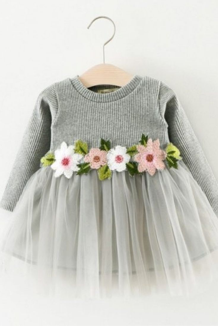 Infant Toddler Baby Girl Fall Outfits Long Sleeve Tutu Dress Tulle Knit Dress Princess Party Dress