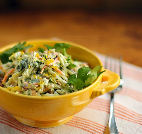 Recipe for lemon caper broccoli slaw salad {The Perfect Pantry}