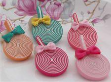 12 un. Tela Lollipops arco Hágalo usted mismo Suministros Para Niños Diademas de accesorios para el cabello, etc.