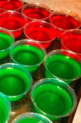 Los jello shots son unos vasitos de gelatina con vodka, saben super ricos aunque hay que tener cuidad de cuantos tomar porque no te vas a dar cuanta de la cantidad de alcohol que tienen.