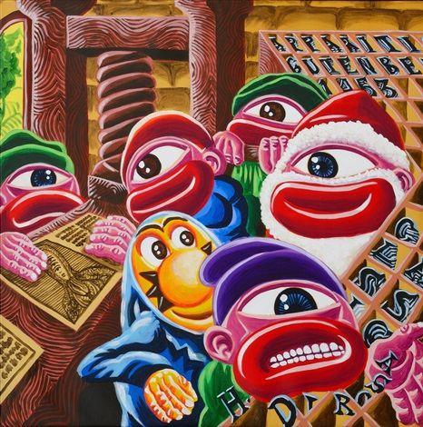 Hervé Di Rosa (French, born 1959) Title: apparition gutenberg 1453 Medium: acrylique sur toile Size: 105 x 105 cm. (41.3 x 41.3 in.)
