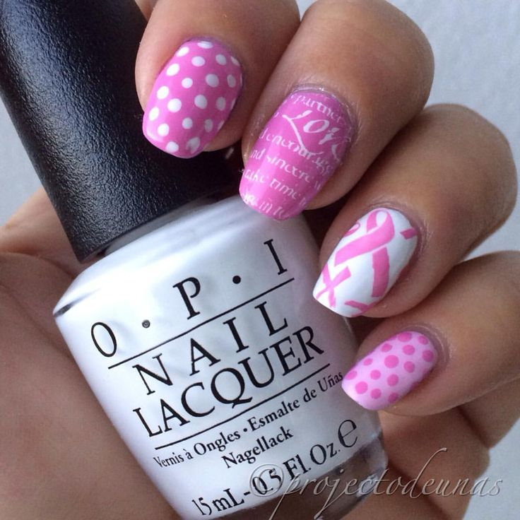 "PirjoA sanoo Instagramissa: ""#breastcancerawarenessnails today. Polishes used are @chinaglazeofficial Dance baby, @opi_finland Alpine snow and Mod about you. Stamping plate @bundlemonster 311 & 321. Stamping polishes @mundodeunas white and Konad pink. By the way I love Opi Alpine snow. why didn't I buy it before. #projectodeunas #nailie #nailartlove #leimaus #stampingnailart #stamping #breastcancerawareness #roosanauhakynnet #opiobsession"""