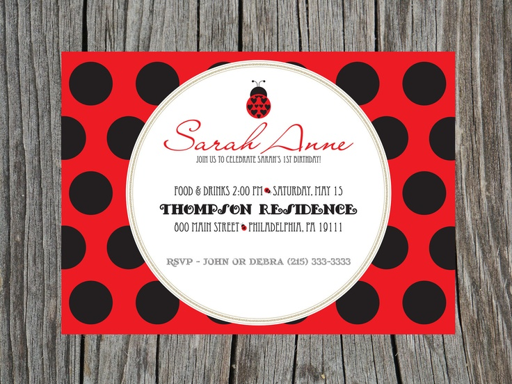 116 best Evas 1st birthday images – Ladybug Party Invitations
