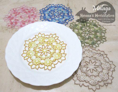 Malaga inspired from old spanish ceramic tilesLizbeth #40 - 11.5cmCoaster/use as little doily