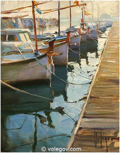 """Boats in Blanes"", 41x51 cm, oil on canvas. By Vladimir Volegov"