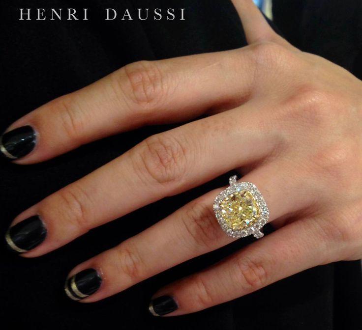 Henri Daussi fancy yellow cushion-cut diamond ring