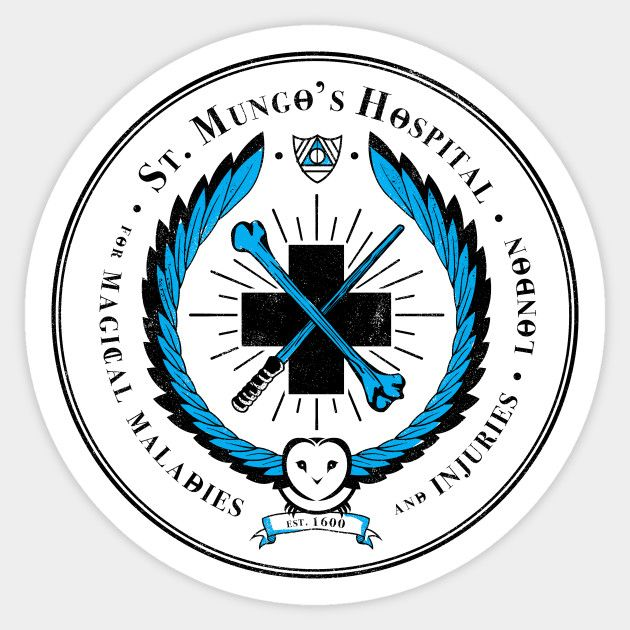St Mungo S Hospital For Magical Maladies And Injuries Harry Potter Sticker Teepublic Harry Potter Stickers Harry Potter Props Harry Potter Classroom