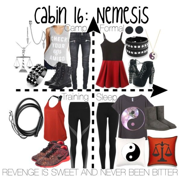 Cabin 16: Nemesis by aquatic-angel on Polyvore featuring WithChic, Recycled Karma, NIKE, Polo Ralph Lauren, Balmain, UGG Australia, Madeline Girl, French Connection, Waterford and Accessorize