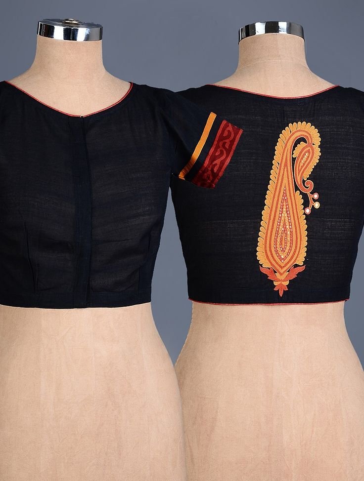 Buy Black Orange Red Paisley Embroidered Cotton Blouse Apparel Tops & Dresses Simple Pleasures Hand Blouses Online at Jaypore.com