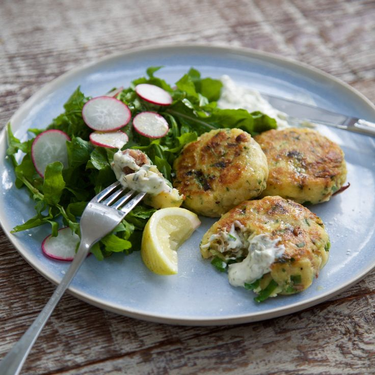 Smoked fish cakes with lemon caper mayo By Nadia Lim