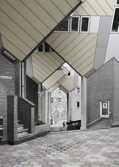 Cube Houses, Rotterdam. Diagonal Lines. Architecture. Building. Home. Design. Contemporary. Modern. Courtyard.