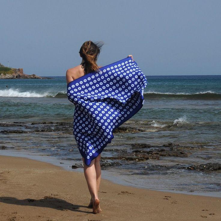 Aegean blue eye pattern towel