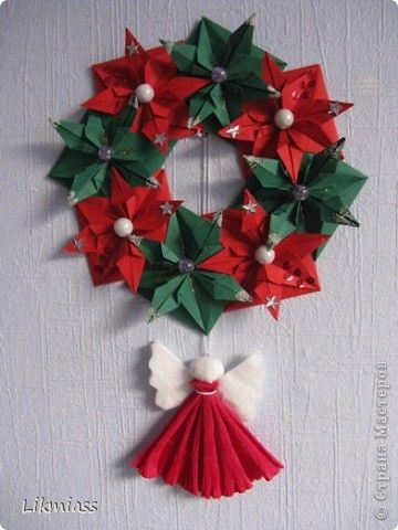 Master class Handicraft product New Year Christmas Origami CHRISTMAS WREATH + MK Paper Beads Disks cotton photo 1