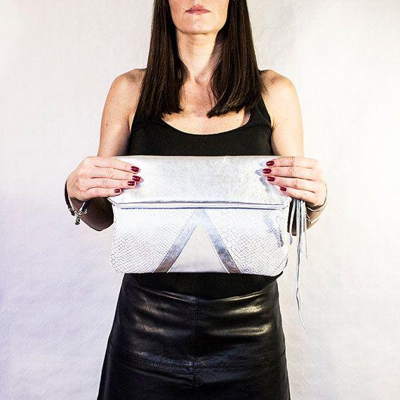 White Snake Leather Purse Silver Geometric Fold by gmaloudesigns
