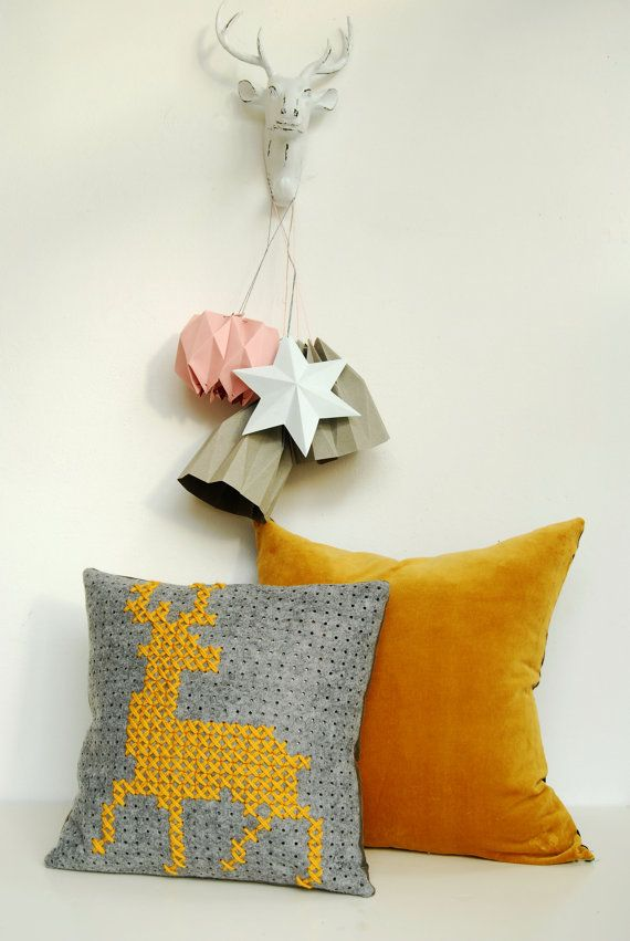 Felt Pillow with cross stitched deer pattern in by DeliriumDecor
