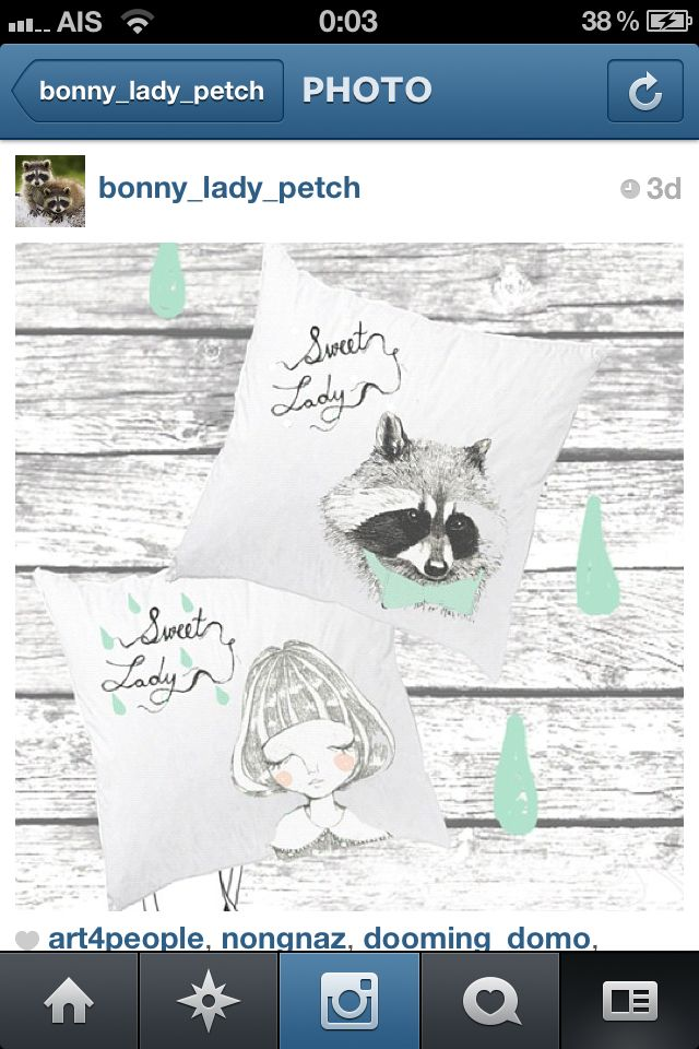 "The lady and Mr.raccoon cushion Satin Cushion  Size 15x15"" 800฿"