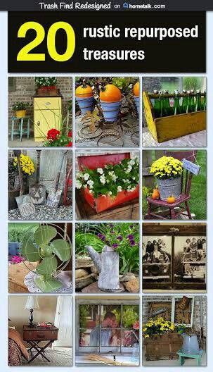 Check out these 20 different ideas  for repurposing some rustic vintage items