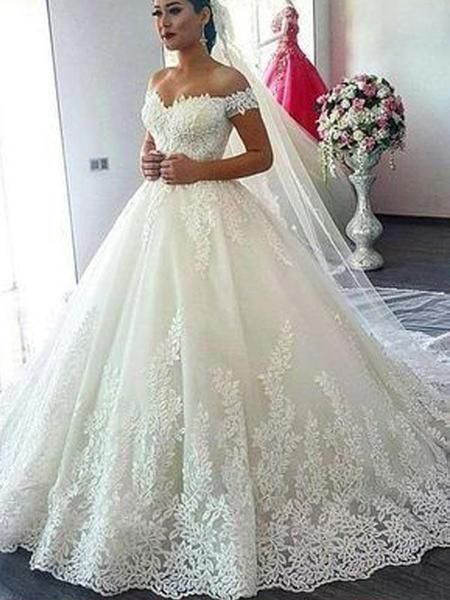 Charming Lace Off the Shoulder Wedding Dresses, BW0591 Charming Lace Off the Shoulder Wedding Dresses, BW0591