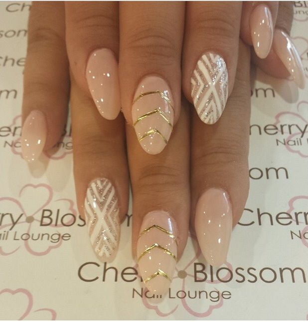 Nude color with design in almond shape