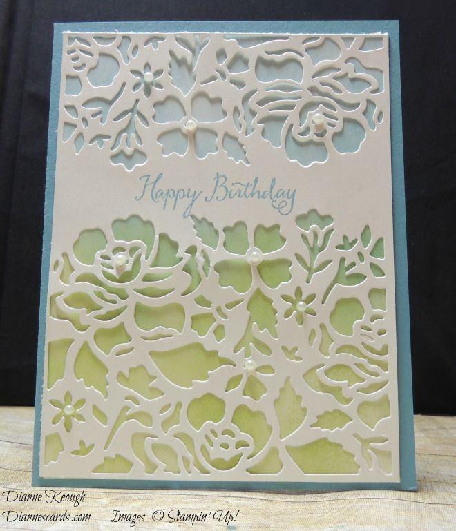 Birthday card made for a friend with Detailed Floral Thinlits and multicolor sponging for background. Used Balloon Celebration stamp set. See blog for details: http://diannescards.com/2016/07/05/card-box-with-floral-thinlits/