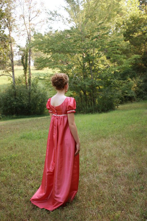Coral Regency Dress, Formal Ball Gown and Reenactment Costume, Jane Austen Dress $150