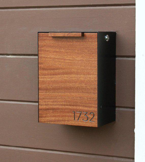 Modern Mailbox Mahogany W Ipe Stain Wall Mounted Mailbox Narrow Size Modern Mailbox Wall Mount Mailbox Modern Mailbox Design