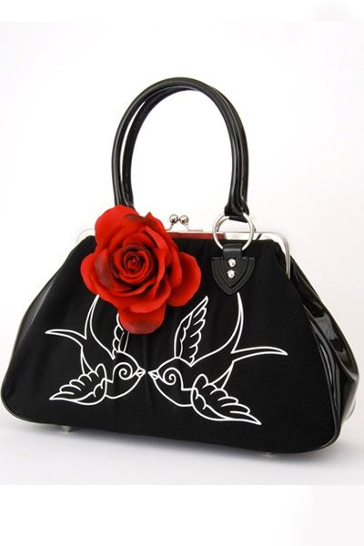 Lux De Ville Lucky Me Kiss Lock Sparrows Purse - Unique Vintage - Pinup, Holiday & Prom Dresses.