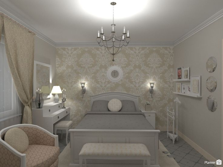 Luxurious Bedroom Design. One Wall Is With Wallpapers, Others Just Coloured  In White And