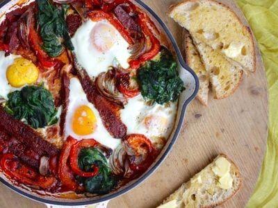 Chorizo Baked Eggs recipe