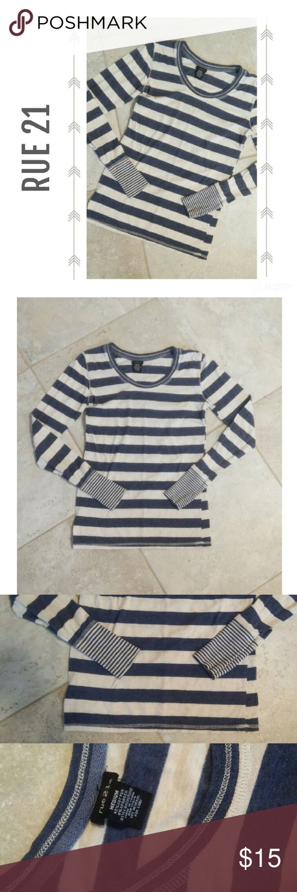 {Rue 21} blue & cream stripe long sleeve shirt Rue 21 Blue & cream Stripe Long sleeve shirt Size medium  Great condition! Rue 21 Tops Tees - Long Sleeve