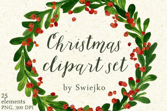 Christmas wreaths clipart by swiejko on Creative Market