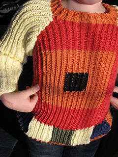This sweater was requested by my son - he draw it on a paper instructed which balls of yarn to use and put me to work : et voila !