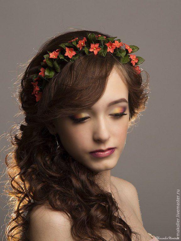 """Купить Ободок """"Огоньки"""" - коралловый, ободок для волос, огоньки, украшение для волос, красота, красивое украшение"""