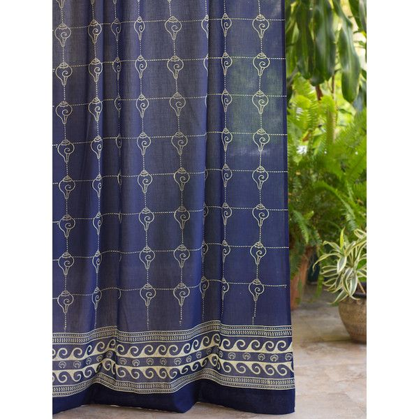 Rustic Navy Blue Curtain Panel, Asian Insipired Curtain, Oriental... ($45) ❤ liked on Polyvore