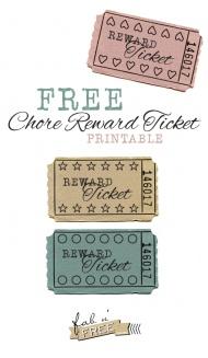 Free Printable Chore Reward Tickets