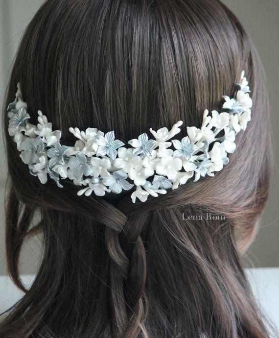 Bridal headpiese / bridal crown /bridal por LenaRomHeadpieces