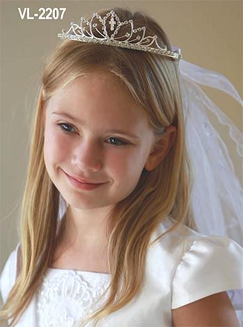 communion hairstyles with tiara and veil - Google Search