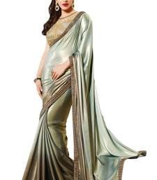 Buy Grey embroidered crepe saree with blosue shimmer-saree online