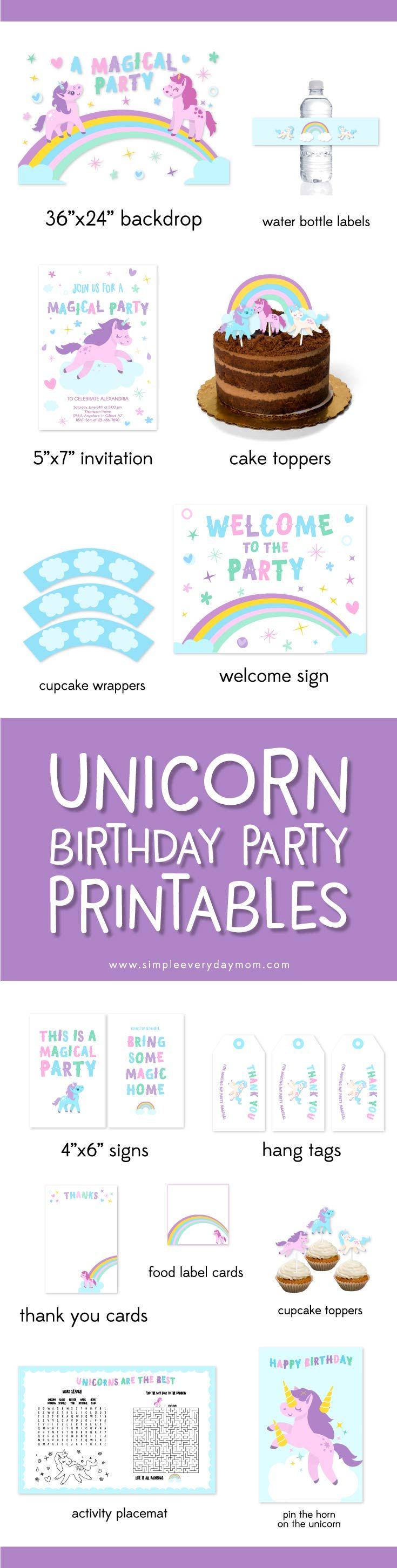 Unicorn Birthday Party Ideas | This printable party package includes everything you need to throw an adorable unicorn party including a dessert table backdrop, water bottle labels, an editable invitation, cake toppers, cupcake toppers, cupcake wrappers, a welcome sign, table signs, party favor tags, thank you cards, food label cards, an activity placemat and pin the horn on the unicorn.  #UnicornParty #kidsparty #girly