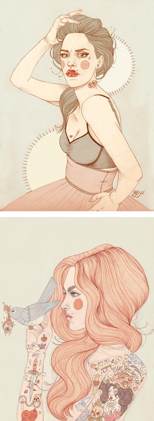 Geniales ilustraciones tatuadas por Liz Clements