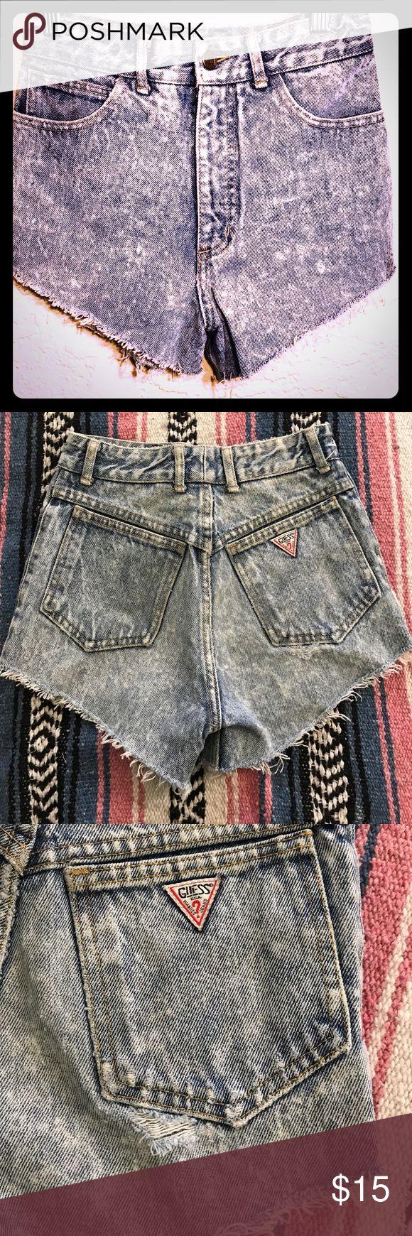 Guess Marciano denim shorts Vintage guess, acid wash, cut off shorts. Classic triangle logo. Guess Shorts Jean Shorts