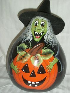 Decorative Hand Painted Witch Halloween Gourd by BamaLadyCrafts, $45.00